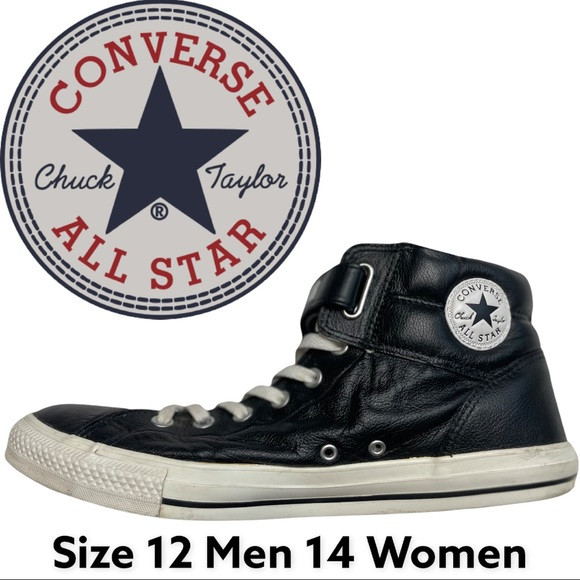 Size 12/14 Converse Black Leather High Tops